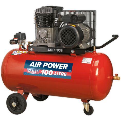 Sealey SAC1103B Compressor 100L Belt Drive 3hp with Cast Cylinders & Wheels