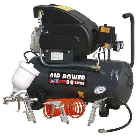 """main image of """"Sealey SAC2420EPK Compressor 24 Litre Direct Drive 2hp with 4pc Air Accessory Kit"""""""