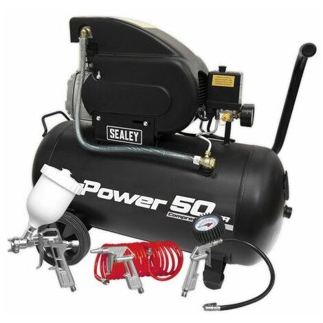 Sealey SAC5020APK Compressor 50ltr Direct Drive 2hp with 4pc Air Accessory Kit
