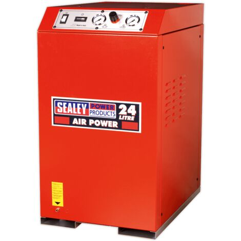 Sealey SAC82425VLN Compressor 24L V-Twin Direct Drive 2.5hp Cabinet Low Noise