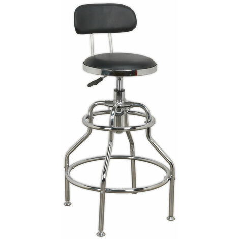 Sealey SCR14 Workshop Stool Pneumatic Adjustable Height Swivel Seat & Back Rest