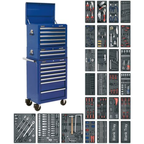 Sealey SPTCCOMBO1 Tool Chest Combination 14 Drawer with Ball Bearing Slides - Blue & 1179pc Tool Kit