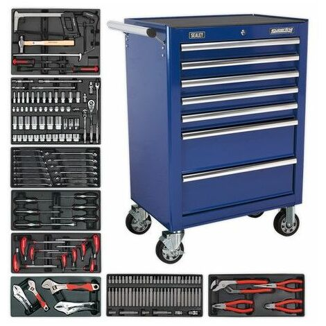 Sealey TBTBCOMBO 7 Drawer Rollcab - Ball Bearing Slides - Blue with 156pc Tool Kit