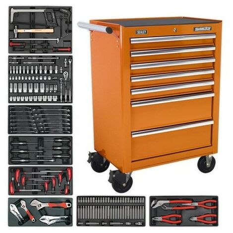 Sealey TBTOCOMBO 7 Drawer Rollcab - Ball Bearing Slides - Orange with 156pc Tool Kit