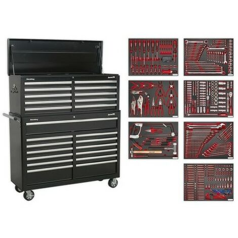 Sealey TBTPBCOMBO4 Tool Chest Combination 23 Drawer with Ball Bearing Slides - Black with 446pc Tool Kit
