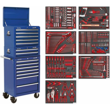 Sealey TBTPCOMBO5 Tool Chest Combination 14 Drawer with Ball Bearing Slides - Blue & 446pc Tool Kit