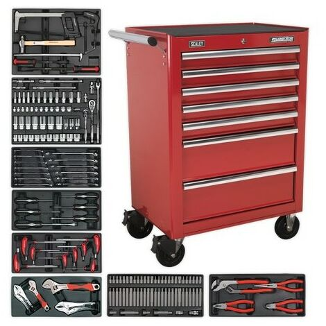 Sealey TBTRCOMBO 7 Drawer Rollcab - Ball Bearing Slides - Red with 156pc Tool Kit
