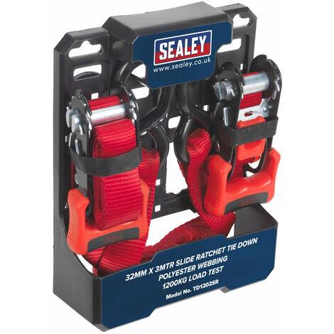 Sealey TD1202SR Slide Ratchet Tie Down 32mmx3m Polyester Webbing S Hooks 1200kg