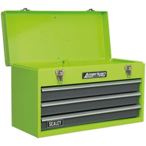Sealey Tool Chest 3 Drawer Portable with Ball Bearing Slides - Hi-Vis Green/Grey