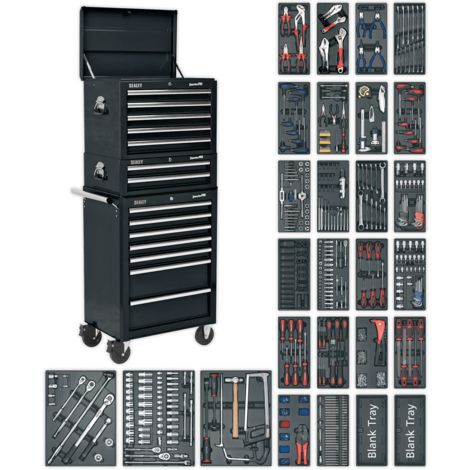 Sealey Tool Chest Combination 14 Drawer with Ball Bearing Runners - Black & 1179pc Tool Kit