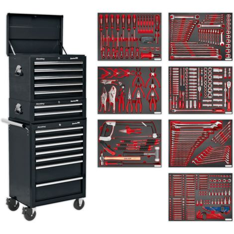 Sealey Tool Chest Combination 14 Drawer with Ball Bearing Runners - Black & 446pc Tool Kit