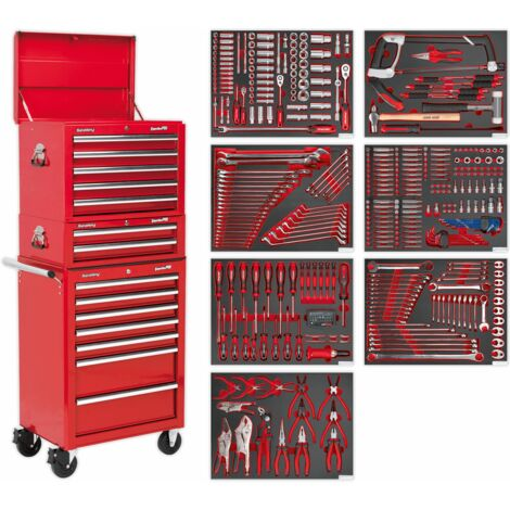 Sealey Tool Chest Combination 14 Drawer with Ball Bearing Runners - Red & 446pc Tool Kit