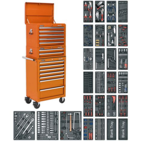 Sealey Tool Chest Combination 14 Drawer with Ball Bearing Slides - Orange & 1179pc Tool Kit