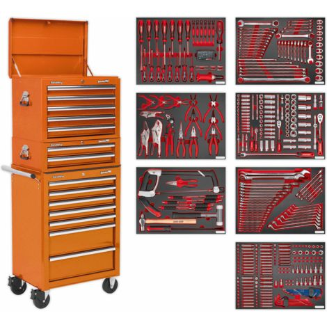 Sealey Tool Chest Combination 14 Drawer with Ball Bearing Slides - Orange & 446pc Tool Kit