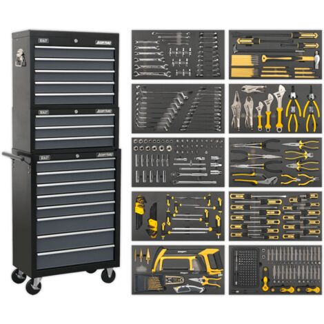 Sealey Tool Chest Combination 16 Drawer with Ball Bearing Slides - Black/Grey & 420pc Tool Kit