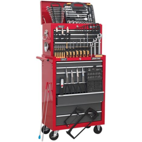 Sealey Topchest & Rollcab Combination 14 Drawer with Ball Bearing Runners - Red/Grey & 239pc Tool Kit