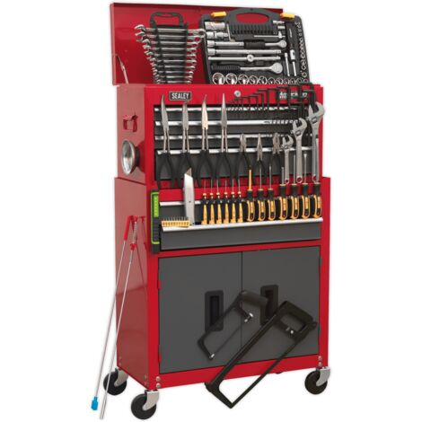 Sealey Topchest & Rollcab Combination 6 Drawer with Ball Bearing Slides - Red/Grey & 128pc Tool Kit