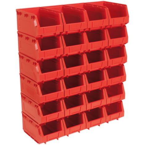 Sealey TPS324R Plastic Storage Bin 150 x 240 x 130mm - Red Pack of 24