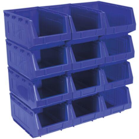 Sealey TPS412B Plastic Storage Bin 210 x 355 x 165mm - Blue Pack of 12