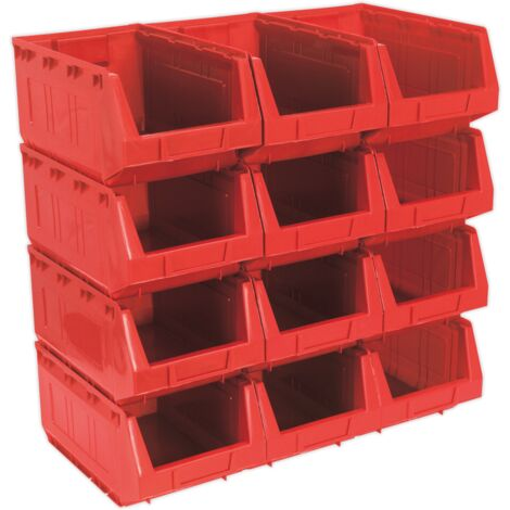 Sealey TPS412R Plastic Storage Bin 210 x 355 x 165mm - Red Pack of 12