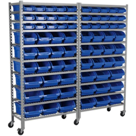 Sealey TPS72 Mobile Bin Storage System 72 Bins