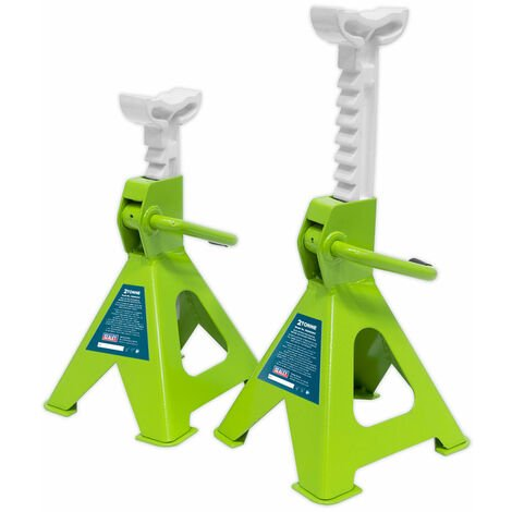 Sealey VS2002HV Axle Stands (Pair) 2tonne Cap /Stand Ratchet Type - Hi-Vis Green