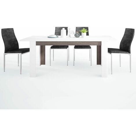 Seals Dining set package Seals Living Extending Dining Table + 6 Lillie High Back Chair Black White melamine