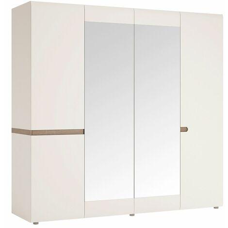 Seals Four Door Mirror Wardrobe - Shelving Hanging Area