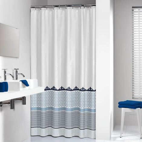 Sealskin Bathroom Shower Curtain Machine Washable Marrakech 180 Silver/Blue