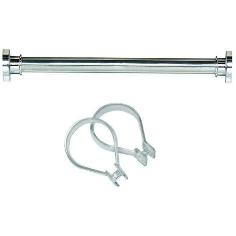 Sealskin Shower Bath Rod Pole Rail Ring Set Seallux + 12 Rings White/Chrome