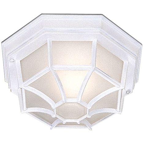 Searchlight 2942WH Outdoor Hexagonal White Flush Light