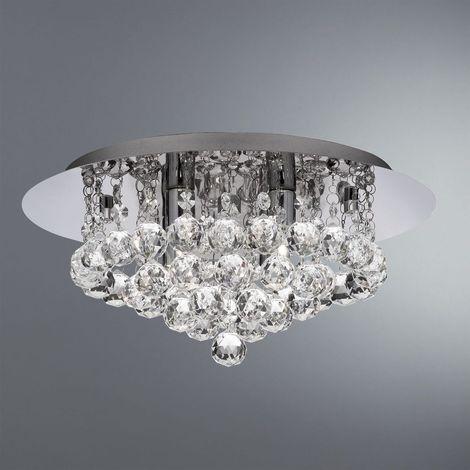 Searchlight 3404-4CC Hanna 4 Light Crystal Flush Ceiling Light In Chrome