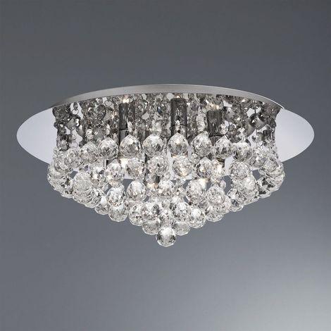 Searchlight 3406-6CC Hanna 6 Light Flush Ceiling Crystal Light In Polished Chrome