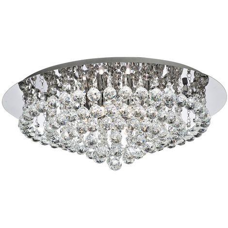 Searchlight 3408-8CC Hanna 8 Light Crystal Flush Ceiling Light In Polished Chrome