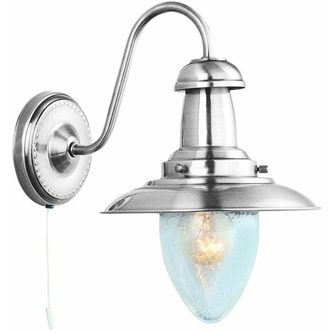 Searchlight 5331-1SS Fisherman 1 Light Wall Light In Satin Silver