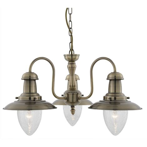 Searchlight 5333-3AB Fisherman 3 Light Ceiling Pendant Light In Antique Brass
