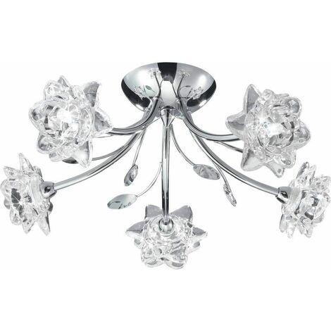 Searchlight 9285-5CC Bellis 5 Way Chrome And Glass Ceiling Light