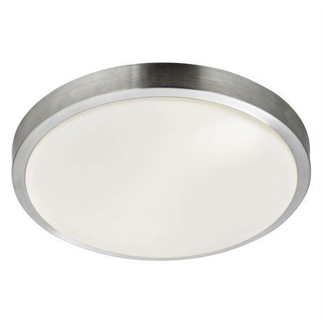 "main image of ""Searchlight Flush - LED 3 Light Bathroom Ceiling Light Aluminium, White IP44"""
