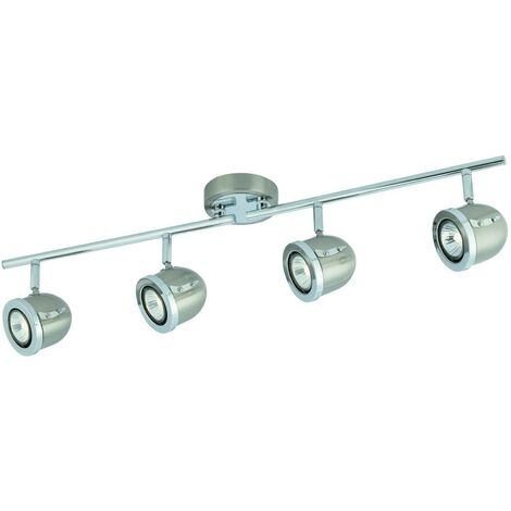 "main image of ""Searchlight Palmer - 4 Light Adjustable Ceiling Spotlight Bar Satin Silver, Chrome, GU10"""