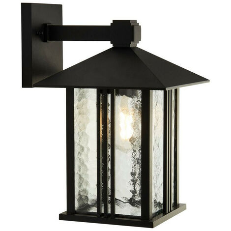 Searchlight Venice 1 Light Outdoor Wall Porch Light - Black With Water Glass