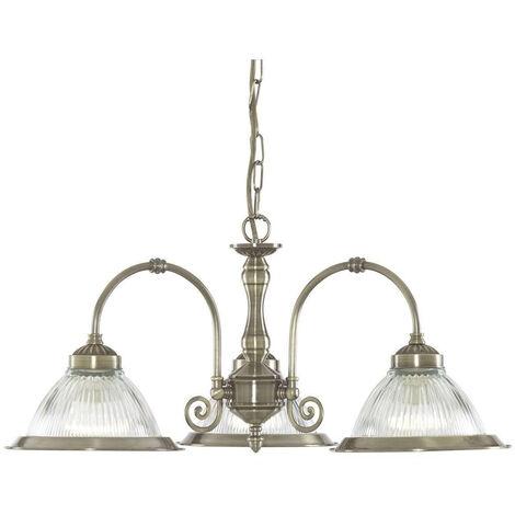 Searchlight Virginia - 3 Light Multi Arm Multi Arm Ceiling Pendant Antique Brass, Scavo Glass Shades, E27