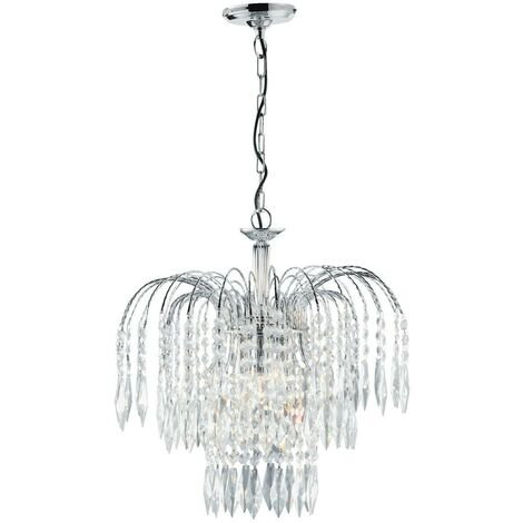 """main image of """"Searchlight Waterfall - Crystal Chandelier 3 Light Chrome Finish, E14"""""""