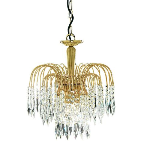 """main image of """"Searchlight Waterfall - Crystal Chandelier 3 Light Gold Finish, E14"""""""