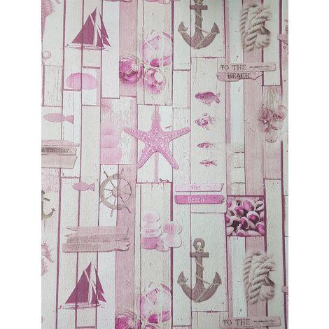 Seaside Beach Theme Wallpaper Starfish Boats Wood Effect Anchor Textured P+S