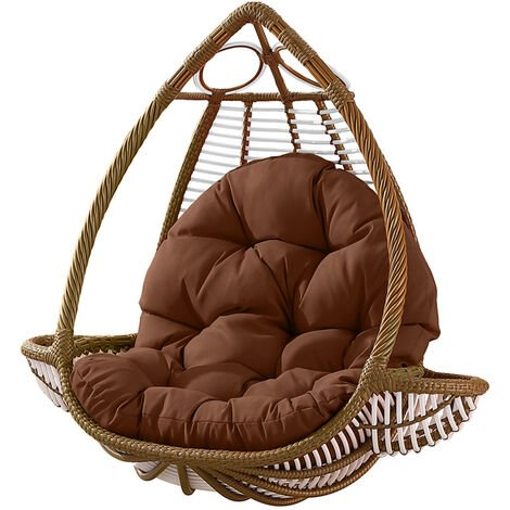 Seat Cushion Waterproof Egg Chair Seat Pad Pillow Soft Furry Fabric Swing Chair Cushion Hanging Indoor Outdoor Patio 120x90cmx15cm Coffee