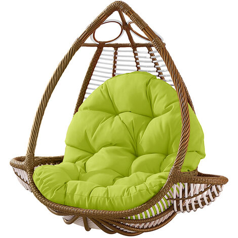 Seat Cushion Waterproof Egg Chair Seat Pad Pillow Soft Furry Fabric Swing Chair Cushion Hanging Indoor Outdoor Patio 120x90cmx15cm Green