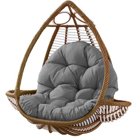 Seat Cushion Waterproof Egg Chair Seat Pad Pillow Soft Furry Fabric Swing Chair Cushion Hanging Indoor Outdoor Patio 120x90cmx15cm Grey