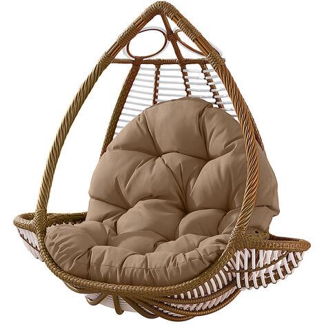 Seat Cushion Waterproof Egg Chair Seat Pad Pillow Soft Furry Fabric Swing Chair Cushion Hanging Indoor Outdoor Patio 120x90cmx15cm Khaki
