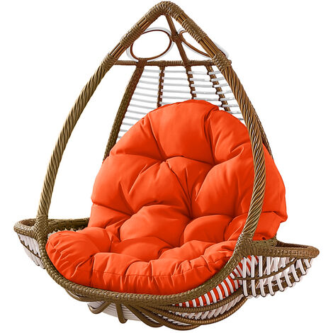 Seat Cushion Waterproof Egg Chair Seat Pad Pillow Soft Furry Fabric Swing Chair Cushion Hanging Indoor Outdoor Patio 120x90cmx15cm Orange
