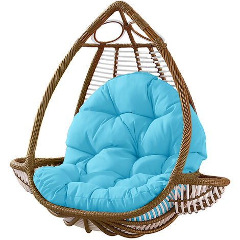Seat Cushion Waterproof Egg Chair Seat Pad Pillow Soft Furry Fabric Swing Chair Cushion Hanging Indoor Outdoor Patio 120x90cmx15cm Sky blue